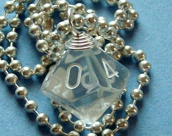 D10 Dice Pendant - Clear - Geek Gamer DnD Role Playing RPG