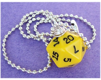 Dungeons and Dragons - D20 Dice Pendant - Yellow - Geek Gamer DnD Role Playing RPG