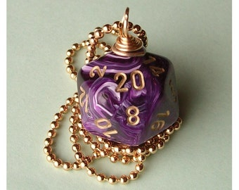 D20 Dice Pendant - Dungeons and Dragons - Purple Vortex - Geek Gamer DnD Role Playing RPG
