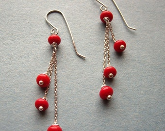 Red Queen - Chain Dangle Sterling Silver Earrings - Paw & Claw Designs