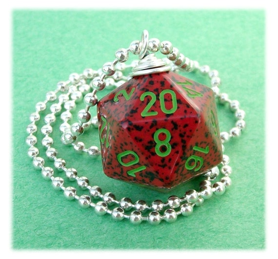 D20 Dice Pendant -  Strawberry - Red Green Black Geek Gamer DnD Role Playing RPG - Paw & Claw Designs
