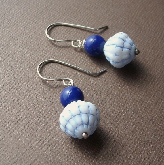 Handmade Sterling Earrings - Baby Blues - Vintage Glass Bead and Wire - Silver Artisan Paw & Claw Designs
