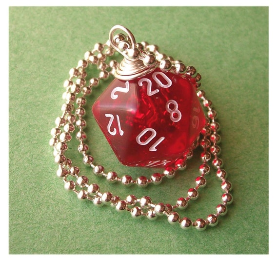 D20 Die Pendant - Dungeons and Dragons - Transparent Red - Geek Gamer DnD Role Playing RPG