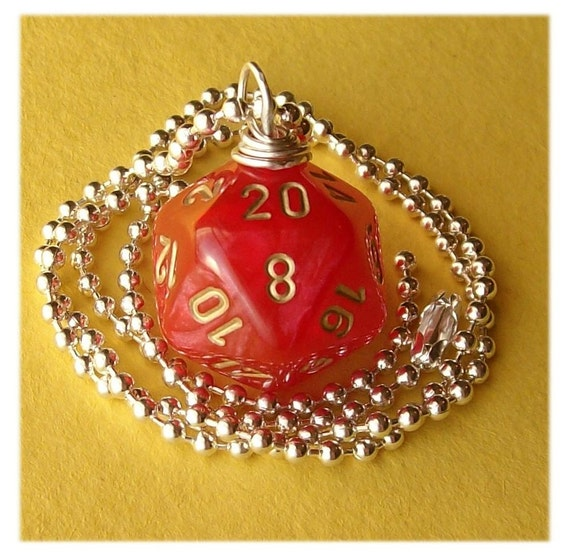Dungeons and Dragons - D20 Die Pendant - Velvet Red - Geek Gamer DnD Role Playing RPG