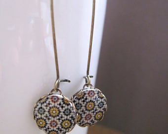 Earrings, Islamic tile cabochon, Islamic jewelry, handmade, Antique oxidized brass kidney wires, fall colors, Made to order