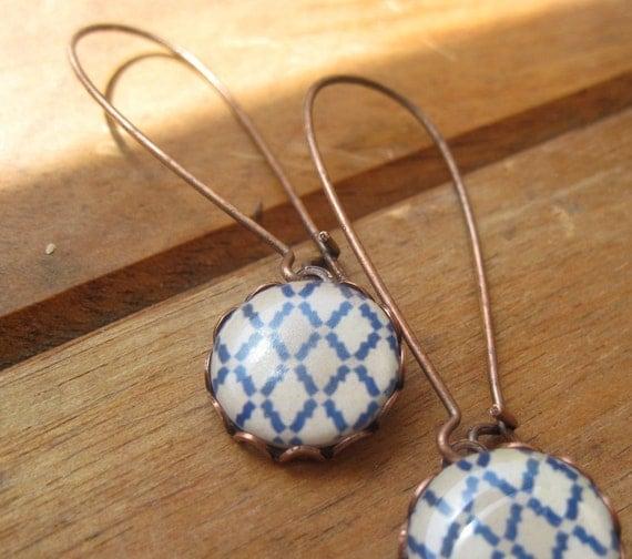 Moroccan tile drop earrings, extra long, copper, blue, white, grey geometric pattern, tribal jewelry, free shipping