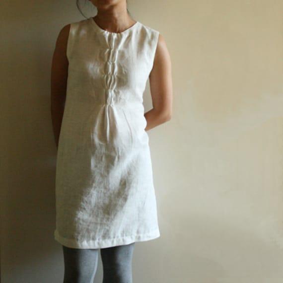 linen dress woffle women handmade linen clothing