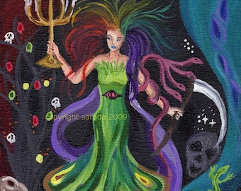 Psychedelic gothic peacock rainbow woman 8 x 10 art print strange surreal colorful art skulls scythe candelabra nautilus witch goddess tarot