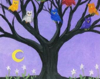 Rainbow owl tree, Halloween art reproduction 5 x 7 print cute night birds