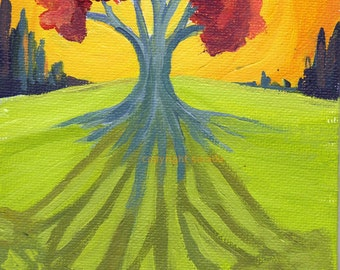 Autumn tree shadow, tangerine sky, original art acrylic nature 5 x 7 inch painting orange yellow woodland psychedelic colorful
