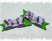 Summer Lilac Lime Dragonfly Dog Hair Bow Pair