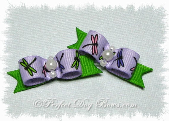Lilac Dog Bow, Dragon Fly Ribbon, Small Pet Bow, Small Dog Hair Bow, Summer Bow