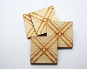 Laser Cut Plaid Coasters,Eco-Friendly Bamboo Plaid Coasters,Tartan Coasters,Wood Coasters,Bamboo Coasters,Laser Cut Bamboo Coasters