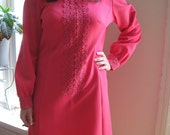 CLEARANCE 1960s Hot Pink Dress Large