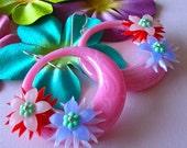 Strawberry Daiquiri Floral Hoop Earrings, Retro Hoop Earrings, Tiki Time, 60's Retro, Hawaiian Floral Hoops, Vintage Plastic Hoops