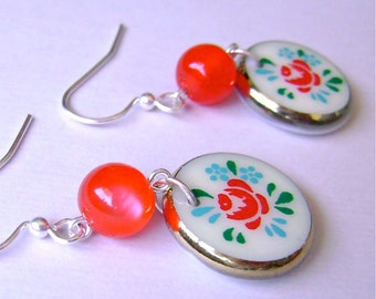 Red Rose Dangle Earrings, Red Rose Glass Coin Disk Dangles, Vintage Glass Limoge Rose Charm and Lucite Silver Earrings, Turquoise and Red