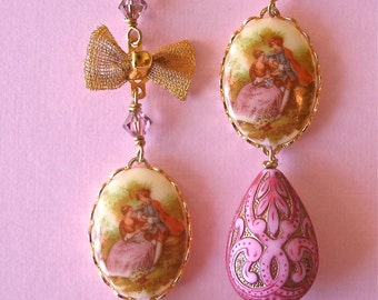 Vintage Handmade Victorian Couple Cameo and Lucite Bead Teardrop Bow Dangle, Neo Victorian, Vintage Limoge Cameo Earrings