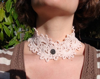 organic lace collar.  pearly pink.