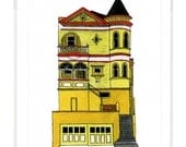 Yellow House On Steiner Street, San Francisco - Notecard