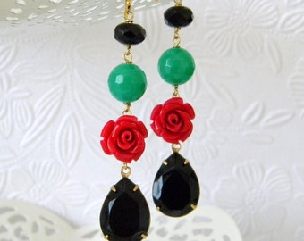 Vintage Jet Black Swarovski Red Rose Jade Green Quartz Earrings