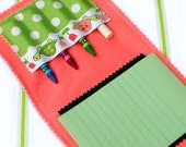 Crayon Wallet & Chalk Mat Art Folio: Turtles-n-Tulips - arts and crafts coloring travel toy / travel game - Sale take 20% off