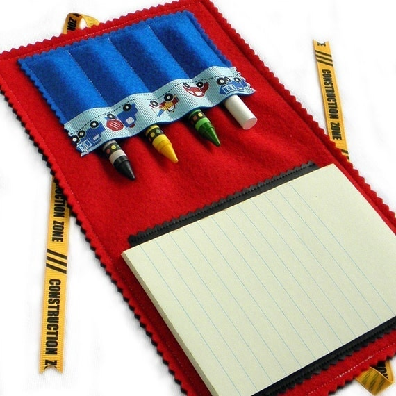 Crayon Wallet-Chalk Mat Art Folio: Construction Zone - arts & crafts coloring travel toy / travel game - take 20% off
