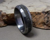 Titanium Ring, Titanium and Concrete Ring, Distressed Ring, Wedding Ring, Concrete Ring, Wedding Band Set, Custom Made Ring