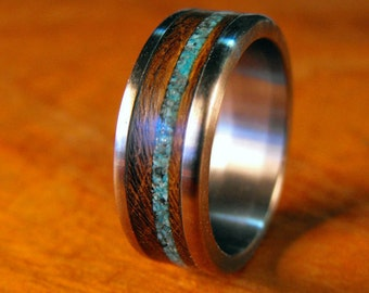 Titanium Ring, Wedding Ring, Stone Ring, Wood Ring, Turquoise Ring, Custom Made Ring, Mens Ring, Womens Ring, Handmade Ring, Unique Ring