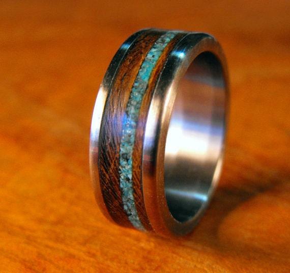 Titanium Ring Wedding Ring Stone Ring Wood Ring Turquoise