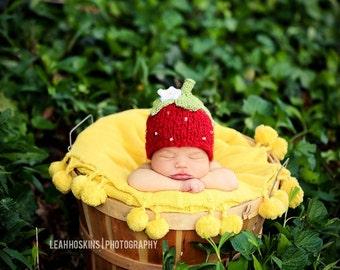 Strawberry Hat -  knit newborn baby girl photography prop flower fruit bonnet