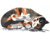 Calico Cat Watercolor Print