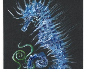 Seahorse and Ivy, Original Acrylic Fantasy Painting