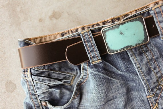 CLEARANCE - Chocolate Brown Leather Belt by Fosterweld