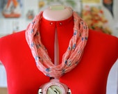 Infinity Scarf - Vintage pink, blue, and white floral sheer cotton crepe voile. Super lightweight and easy to wear with any outfit!