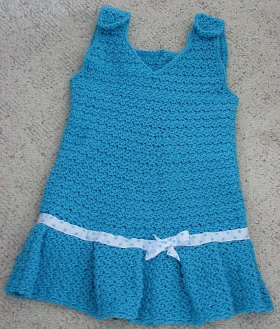 Crochet Pattern Child's Jumper in 3 Sizes: 2T. 4T & 6T w Box Pleats in PDF with Photo Tutorial On How To Make Pleats