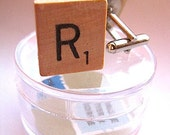 Custom Letter Vintage Scrabble Letter Tile Cuff Links - Letter Cufflinks - Initials
