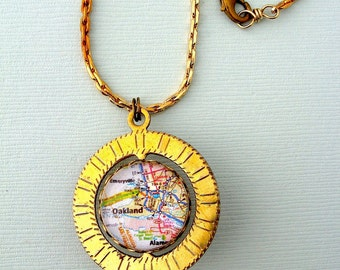 Oakland Map Necklace// Antiqued Solid Brass chain  - Spinner - vintage style jewelry - California jewelry - Oakland Bay Area - Map jewelry