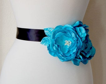 Aqua Blue Wedding Sash Flowers, Large Flower Sash Accessory, Wedding Hair Flower, Bridal Floral Hair Flowers In Turquoise