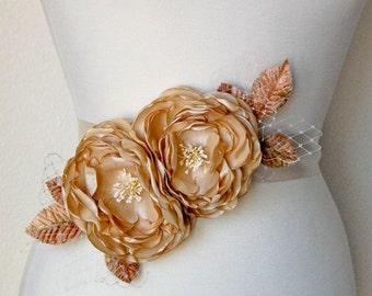 Wedding Sash Flower Accessory - Bridal Belt - Hair Flower Fascinator Head Piece - Flower Brooch -  Bridal Hair Flower - Golden Tan Parchment