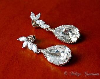 Wedding Earrings, Bridal Chandelier Swarovski Crystal Cubic Zirconia Drop Earrings - Enchanting Evette