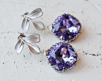 Wedding Bridesmaid Earrings, Bridesmaids Jewelry, Purple Earrings, Tanzanite Swarovski Crystal Earrings - Petite Tanzanite
