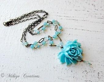 Wedding Necklace, Aqua Floral Necklace, Double Strand Swarovski Vintage Inspired Brass Necklace, Bridesmaid Gift, Blue Flower Acessories