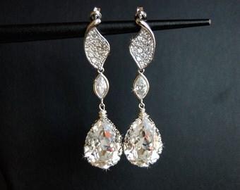 Wedding Earrings, Wedding Jewelry, New Years Jewelry, Swarovski Crystal Cubic Zirconia Large Drop Earrings - Sabina
