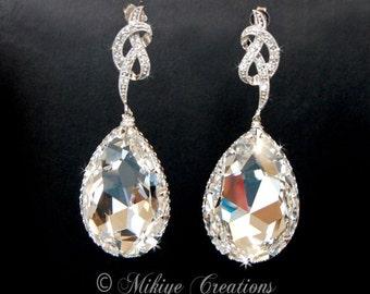 Wedding Earrings, Wedding Accessories, Bridal Jewelry, Large Bridal Chandelier Swarovski Crystal Cubic Zirconia Drop Earrings Priscilla