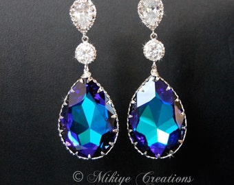Chandelier Wedding Earrings, Wedding Jewelry, Swarovski Crystal Drop Earrings - Peacock Droplets