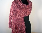 Hand Knit Shawl, Scarf, Cowl, Wrap, Prayer Meditation Comfort Fashion Shawl, Pink, Peach, Rose, Mohair Blend, Fringe, FREE SHIPPING