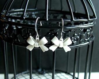 White Bow Earrings, Drop Earrings, Dangle Earrings, Bow Earrings, Small Bow Jewelry, White Enamel Jewelry, Metal Bow Earrings, White Bowtie