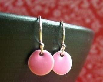 Small Pink Earrings, Pink Dot Earrings, Pink Drop Earrings, Pink Jewelry, Pink Dangle Earrings, Little Earrings, Epoxy Jewelry, Itty Bitty