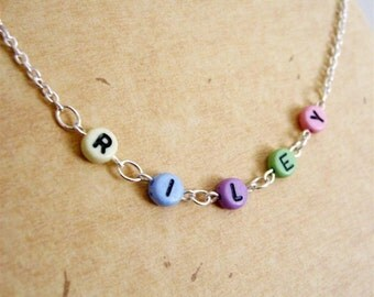 Girls Personalized Necklace, Personalized Jewelry, Name Necklace, Personal Gift, Childrens Necklace, Name Jewelry, Customized ID Necklace