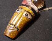 Steampunk pendant  mechanical ball watch, vintage West Timor buffalo bone mask - TrashionTeam,  OlympiaEtsy, WWWG, FunkyAlternativeJewelry
